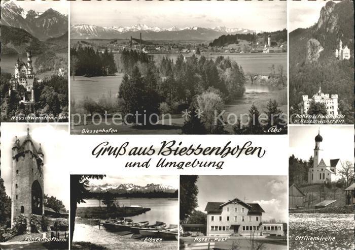 Biessenhofen Neuschwanstein Panorama Hohenschwangau Fuenfknopfturm Elbsee Hotel Post Ottilienkirche Kat. Biessenhofen