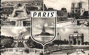 Paris Palais de Chaillot Notre Dame Tour Eiffel Sacre Coeur Carrousel Kat. Paris