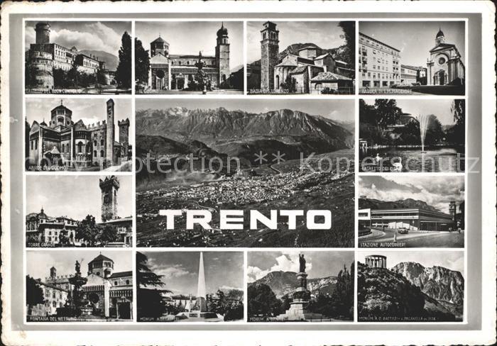 Trento Panorama con le Dolomiti Castello del Buon Consiglio Il Duomo Abside del Duomo Torre Grande Laghetto dei Cigni Stazione Autocorriere Basilica di S M Maggiore Kat. Trento