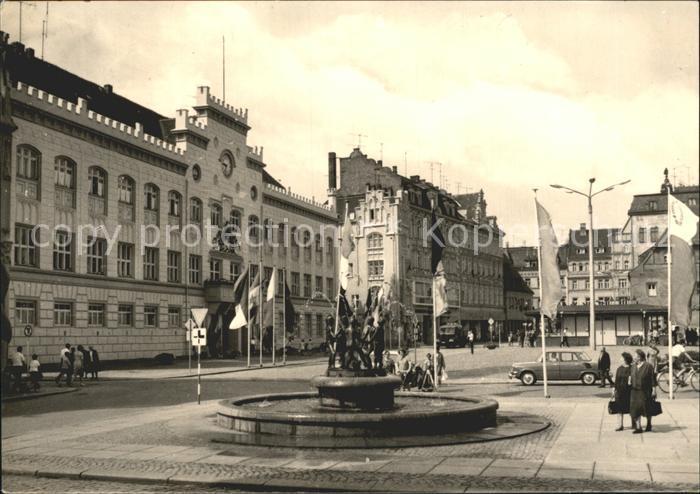 Zwickau Sachsen Markt Rathaus und Kinderbrunnen Kat. Zwickau