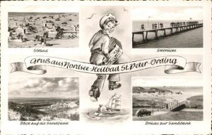 St Peter Ording Strand Seebruecke Duenen Kat. Sankt Peter Ording