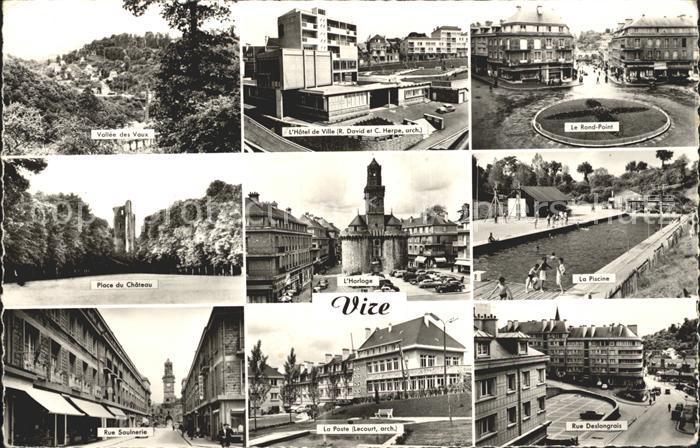 Vire Calvados Vallee des Vaux Hotel de Ville Le Rond Point Place du Chateau Horloge La Pisciine Rue Saulnerie La Poste Rue Deslongrais Kat. Vire
