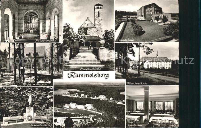 Rummelsberg Philippuskirche Hospiz Terrasse Gedaechtniskreuz Bruderhaus Feierabendhaus Speisesaal Kat. Schwarzenbruck