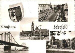 Krefeld Rheinbruecke Hauptbahnhof Ostwall Burg Linn Kat. Krefeld