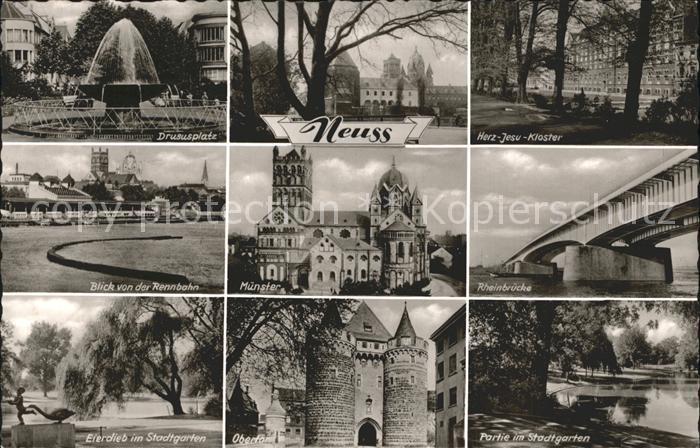 Neuss Drususplatz Herz Jesu Kloster Rennbahn Muenster Rheinbruecke Eierdieb im Stadtgarten Obertor Kat. Neuss