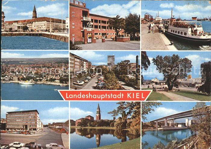 Kiel Promenade Schule Kai Dampfer Total Strassenpartie Gebaeude Kirche Bruecke Kat. Kiel