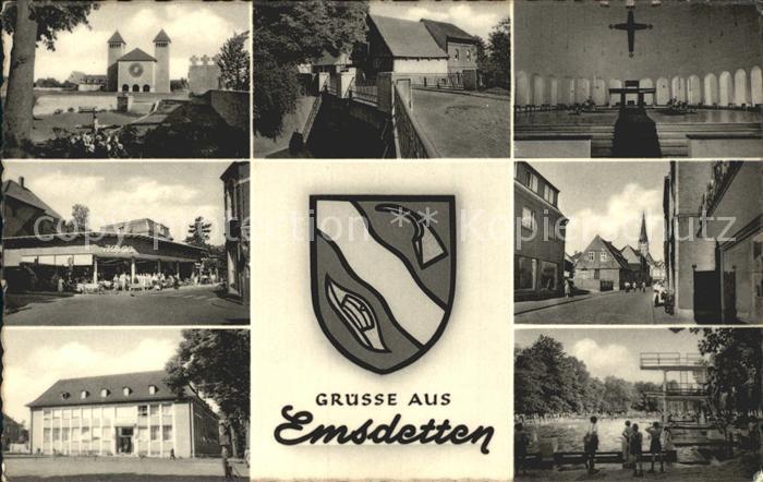 Emsdetten Teilansichten Kirche Freibad Wappen Kat. Emsdetten