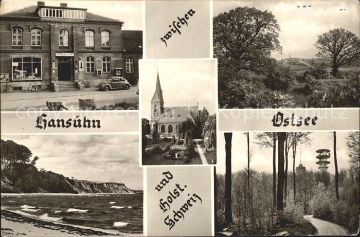 Hansuehn Gasthaus Zu den Linden Kirche Strand Waldpartie Kat. Wangels