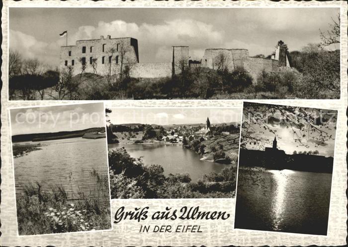 Ulmen Eifel mit Burgruine am Ulmener Maar Kat. Cochem