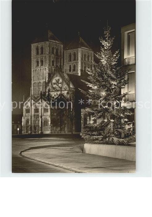 Muenster Westfalen Dom in Festbeleuchtung Christbaum Weihnachtszeit Kat. Muenster