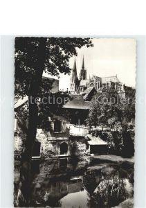 Chartres Eure et Loir Les rives de l Eure et la Cathedrale Kat. Chartres
