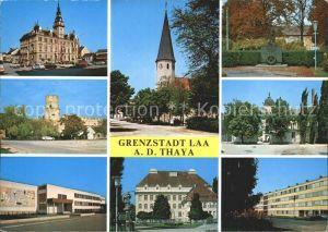 Laa Thaya Schloss Kirche Burgturm Gedenkstaette Strassenpartie  Kat. Laa an der Thaya