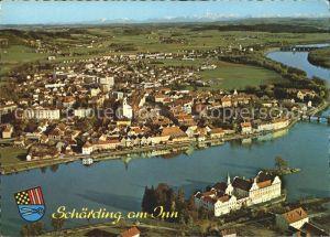 Schaerding mit Hoellengebirge und Kloster Neuhaus Fliegeraufnahme Kat. Schaerding