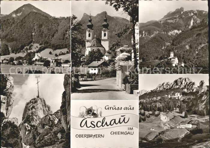 Aschau Chiemgau Panorama Bergkreuz Kirche Kat. Aschau i.Chiemgau