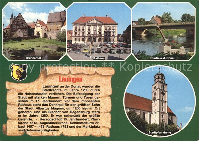 Lauingen Donau Brunnental Rathaus Stadtpfarrkirche  Kat. Lauingen (Donau)