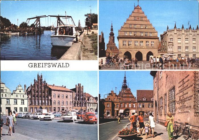 Greifswald Mecklenburg Vorpommern Wiecker Bruecke Rathaus Platz Freundschaft Markt  Kat. Greifswald