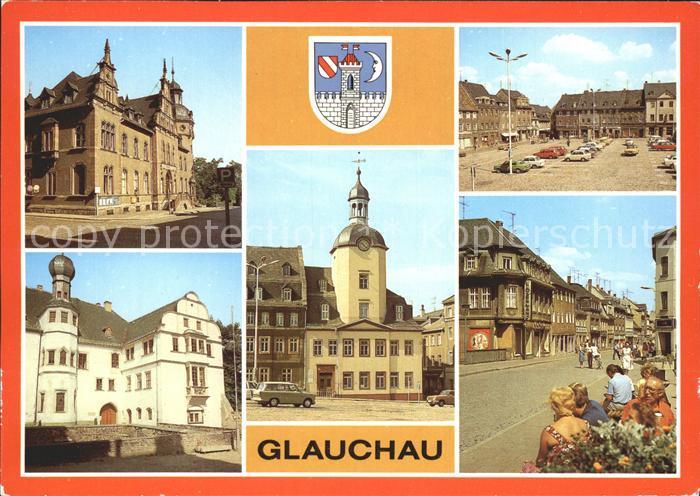 Glauchau Post Schloss Hinterglauchau Rathaus Markt  Kat. Glauchau