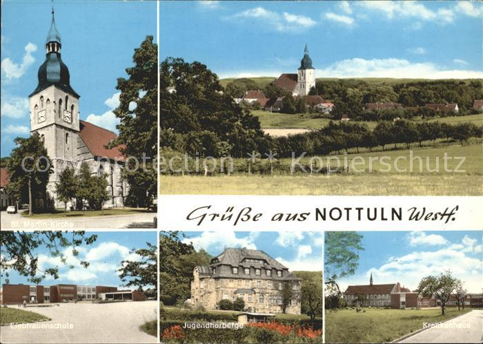 Nottuln St Martin Kirche Liebfrauenschule Jugendherberge Krankenhaus Kat. Nottuln