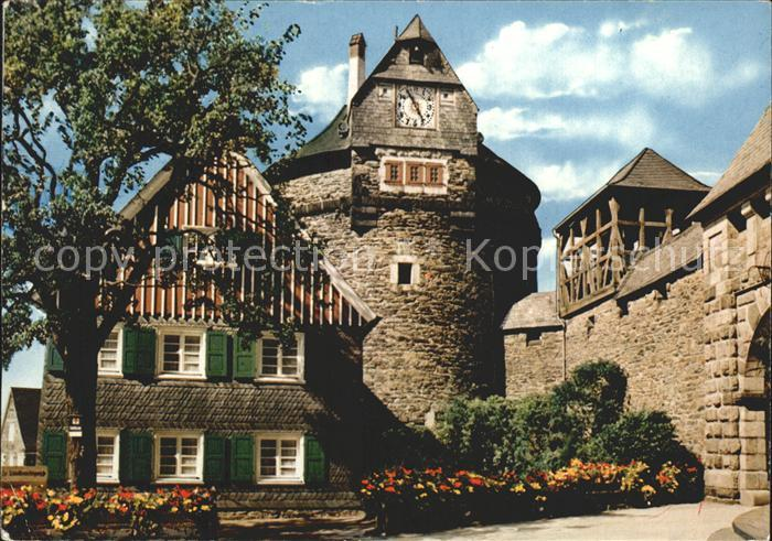 Burg Wupper Schloss Burg Batterieturm mit Glockenturm Kat. Solingen
