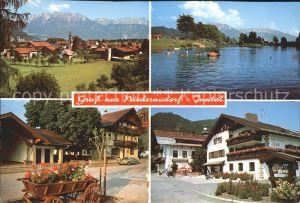 Niederaudorf mit Kaisergebirge Badesee Leiterwagen Dorfpartie Kat. Oberaudorf