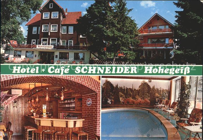 Hohegeiss Harz Hotel Cafe Schneider Bar Swimmingpool Kat. Braunlage