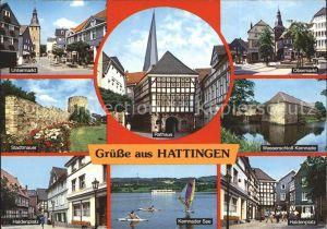 Hattingen Ruhr Untermarkt Obermarkt Wasserschloss Kemnade Rathaus Stadtmauer Haldenplatz See Kat. Hattingen