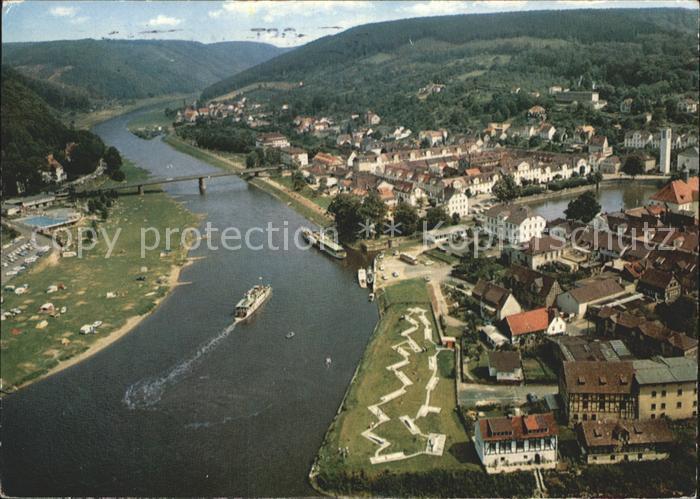 Bad Karlshafen Blick von den Hessischen Klippen Weserbergland Kat. Bad Karlshafen