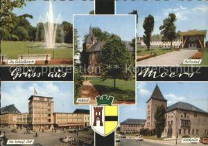 Moers Schlosspark Fontaene Hallenbad Rathaus Schloss Koeniglicher Hof Wappen Kat. Moers