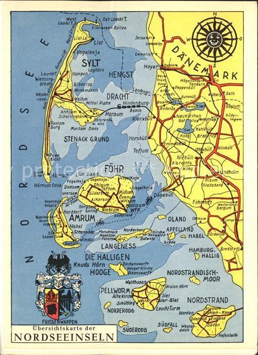 Karte Sylt Amrum.Sylt Landkarte Der Nordseeinseln Mit Foehr Amrum Halligen Kat Sylt Ost