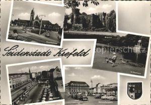Krefeld Hauptbahnhof Burg Linn Stadtwald Bahnhofsvorplatz Ostwall Wappen Kat. Krefeld