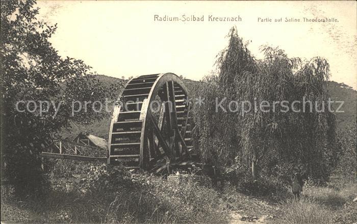 Bad Kreuznach Partie auf Saline Theodorshalle Wasserrad Radium Solbad Kat. Bad Kreuznach