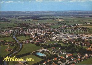 Altheim Oberoesterreich Fliegeraufnahme Pfarrkirche St. Lorenz Alu Schwimmbad Rennbahnanlage Kat. Altheim
