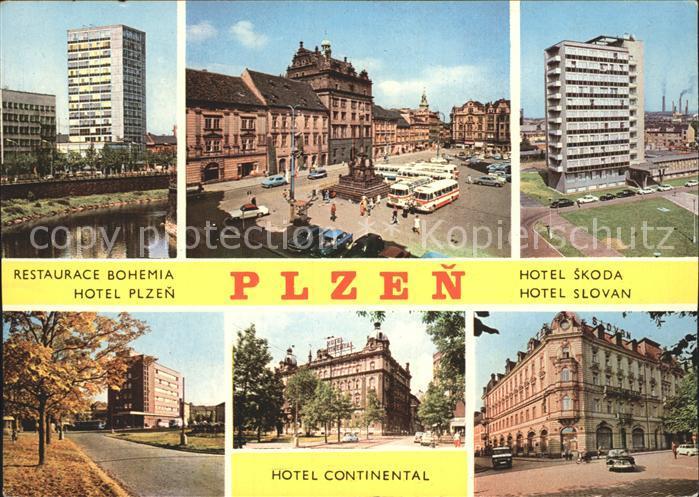 Plzen Pilsen Restaurace Bohemia Hotel Skoda Hotel Continental Hotel Plzen Hotel Slovan Kat. Plzen Pilsen