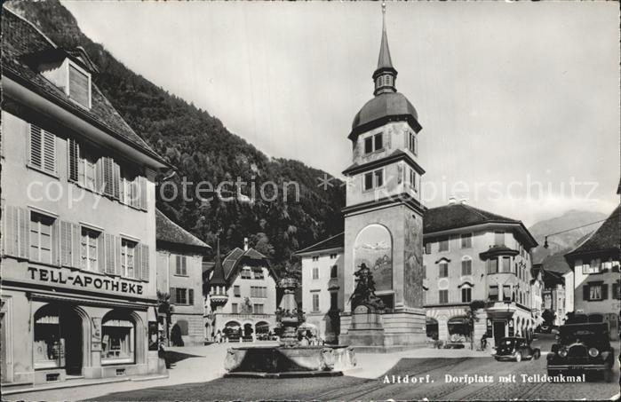 Altdorf SH Dorfplatz mit Telldenkmal Kat. Altdorf SH