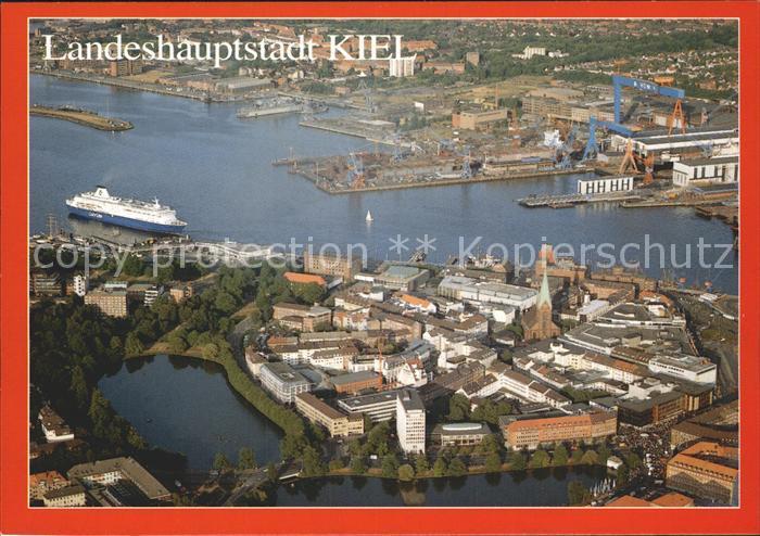 Kiel Fliegeraufnahme Altstadt und Hafen Kat. Kiel