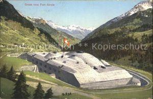 Airolo Fort Schweizer Flagge Alpenpanorama Kat. Airolo