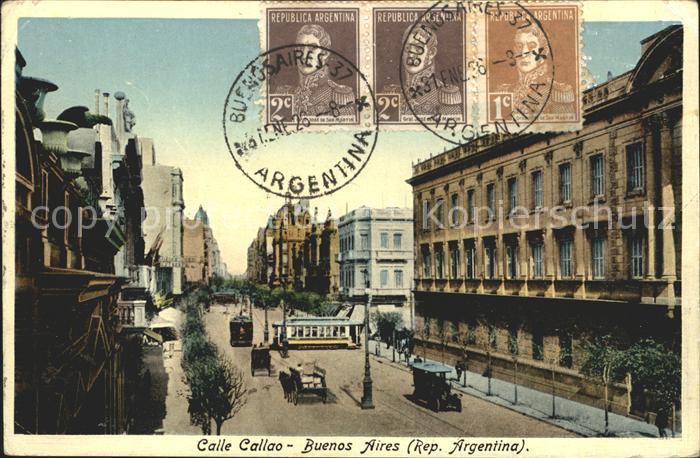 Buenos Aires Calle Callao Stempel auf AK Kat. Buenos Aires