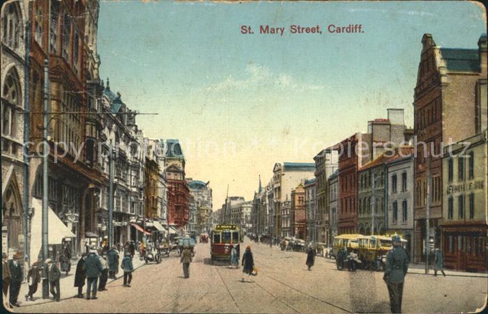 Cardiff Wales St Mary Street Tram Kat. Cardiff