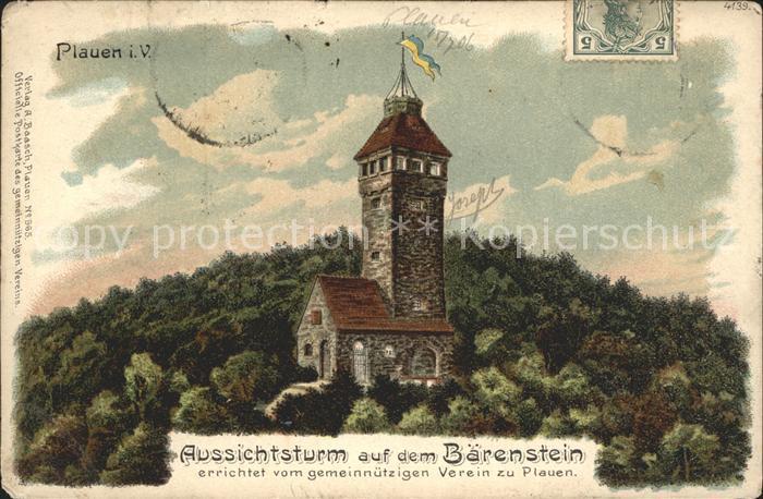 Plauen Vogtland Aussichsturm auf dem Baerenstein Kat. Plauen