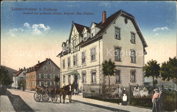 Littenweiler Gasthof zur goldenen Krone Pferdekutsche Kat. Freiburg im Breisgau