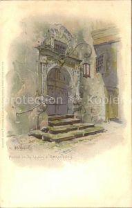 Rothenburg Tauber Rathausportal Kuenstlerkarte Kat. Rothenburg ob der Tauber