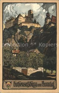 Hohensalzburg Vom Nonntal Kuenstlerkarte Kat. Salzburg