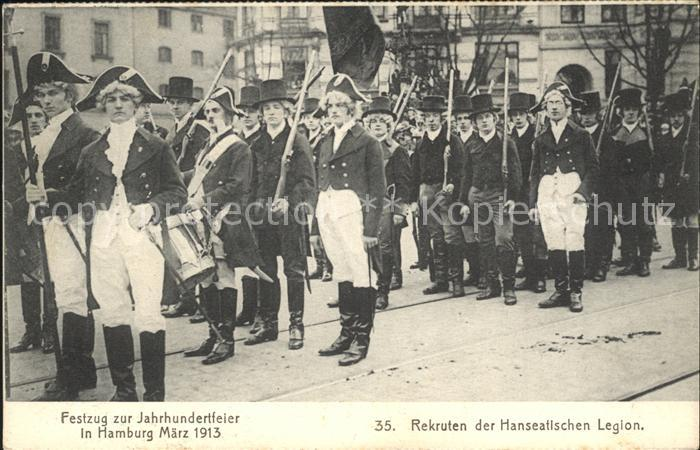 Hamburg Festzug zur Jahrhundertfeier Rekruten der Hanseatischen Legion Kat. Hamburg
