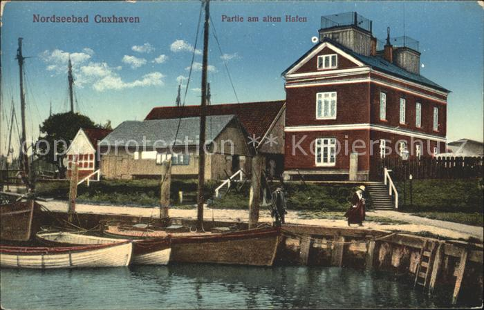 Cuxhaven Nordseebad Partie am alten Hafen Kat. Cuxhaven