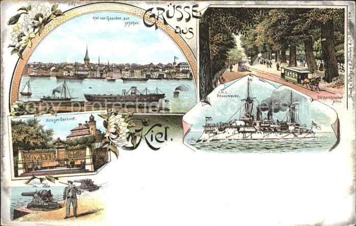 Kiel Stadtansicht SMS Brandenburg Duesternbrooker Allee Kriegerdenkmal Kat. Kiel