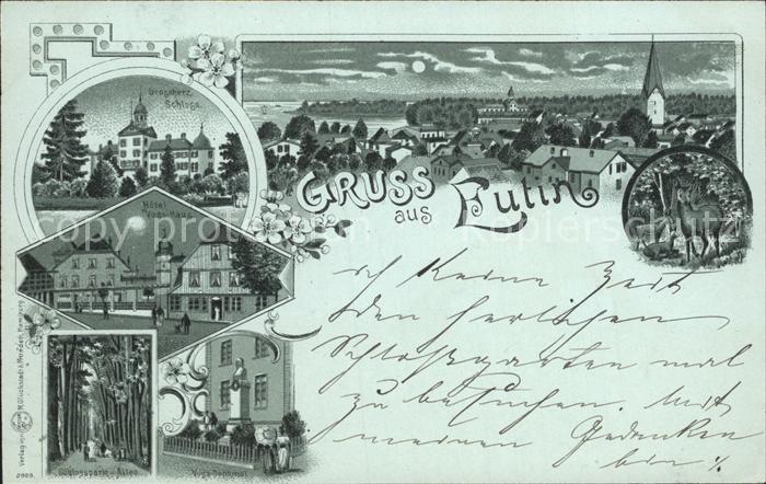 Eutin Stadtansicht Grossherzogl Schloss Hotel Voss Haus mit Denkmal Schlosspark Allee Kat. Eutin