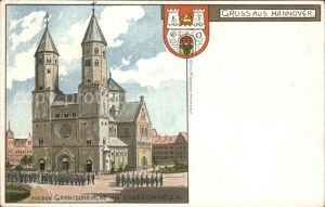 Hannover Garnisonkirche am Sonntag Morgen Wappen Litho Reichspost Kat. Hannover