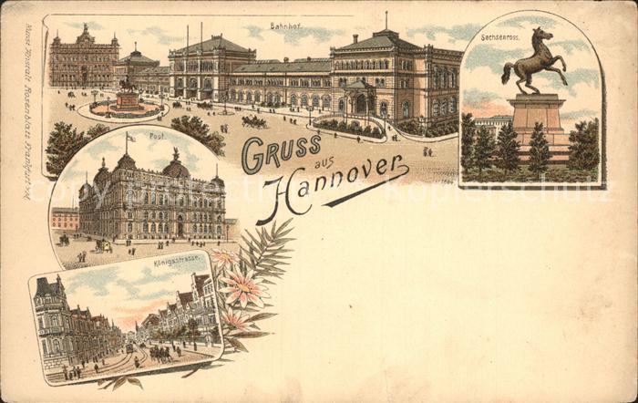 Hannover Ernst August Denkmal Bahnhof Sachsenross Post Koenigstrasse Litho Kat. Hannover