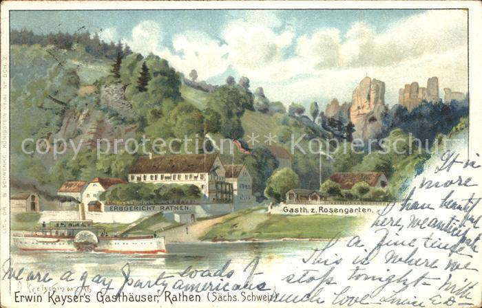 Rathen Saechsische Schweiz Erbgericht Gasthaus zum Rosengarten Elbe Dampfer Kat. Rathen Sachsen