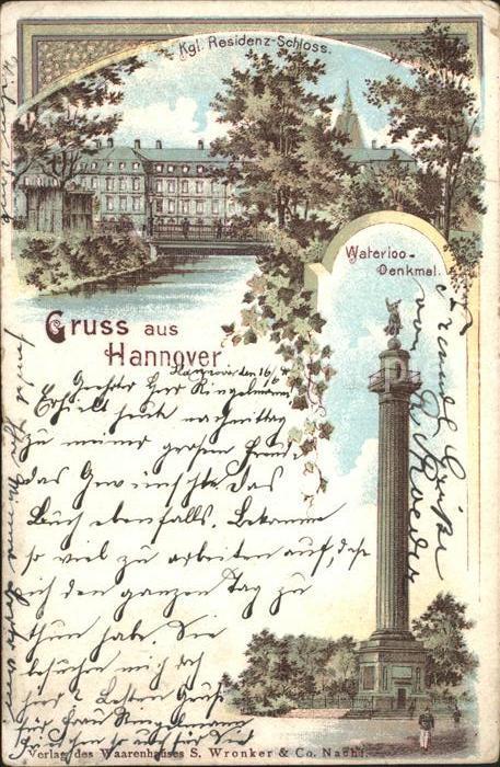 Hannover Kgl Residenz Schloss Waterloo Denkmal Reichspost Kat. Hannover